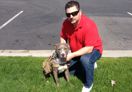 Veteran Mikel and ForceK9.com MOLLE K9 Vest Customer Admiral