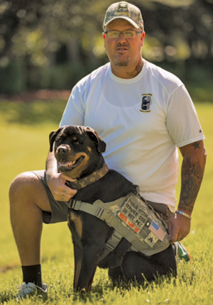 Veteran David Golden and ForceK9.com MOLLE K9 Vest Customer Bella