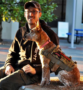 Veteran Jake and ForceK9.com MOLLE K9 Vest Customer Shotgun